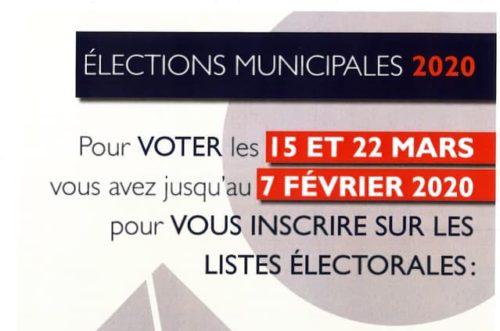 Inscriptions sur les listes électorales - élections municipales 2020