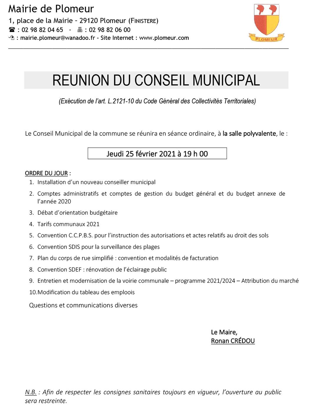 Plomeur Conseil municipal 25-02-2021